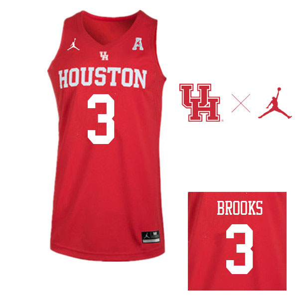 Jordan Brand Men #3 Armoni Brooks Houston Cougars College Basketball Jerseys Sale-Red