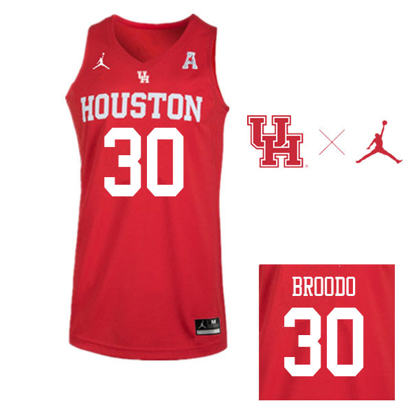 Jordan Brand Men #30 Caleb Broodo Houston Cougars College Basketball Jerseys Sale-Red