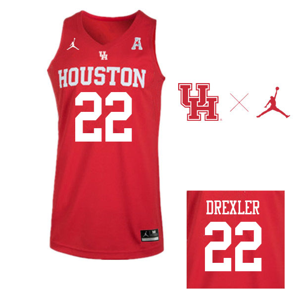 Jordan Brand Men #22 Clyde Drexler Houston Cougars College Basketball Jerseys Sale-Red