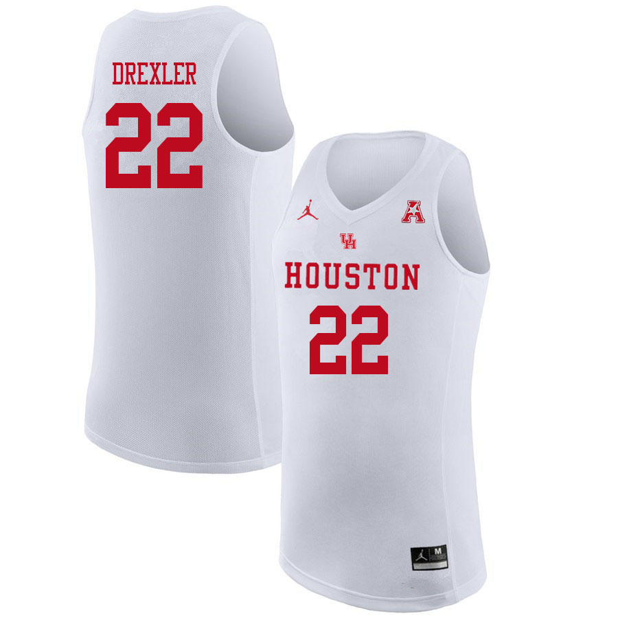 Jordan Brand Men #22 Clyde Drexler Houston Cougars College Basketball Jerseys Sale-White