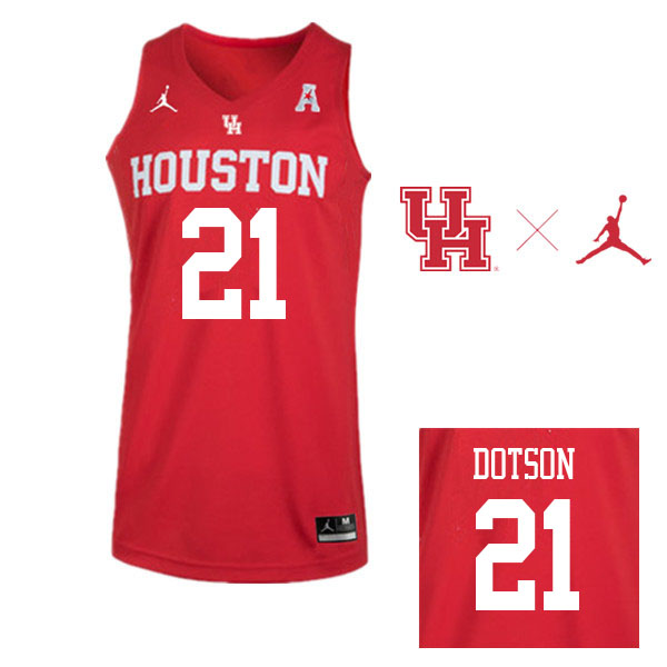 Jordan Brand Men #21 Damyean Dotson Houston Cougars College Basketball Jerseys Sale-Red
