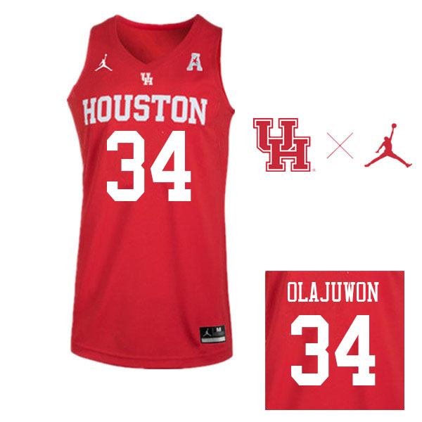 Jordan Brand Men #34 Hakeem Olajuwon Houston Cougars College Basketball Jerseys Sale-Red