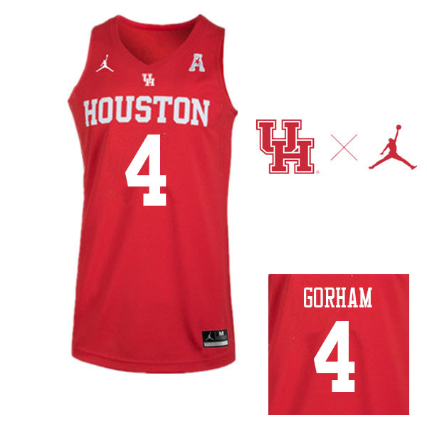 Jordan Brand Men #4 Justin Gorham Houston Cougars College Basketball Jerseys Sale-Red