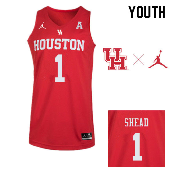 Youth #1 Jamal Shead Houston Cougars College Basketball Jerseys Sale-Red