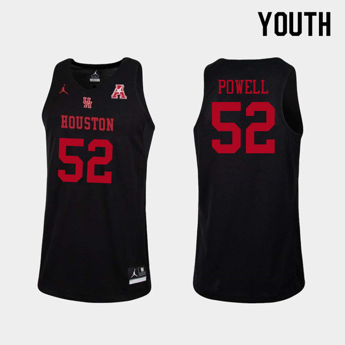 Youth #52 Kiyron Powell Houston Cougars College Basketball Jerseys Sale-Black