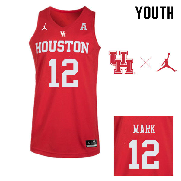 Youth #12 Tramon Mark Houston Cougars College Basketball Jerseys Sale-Red