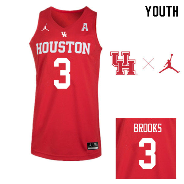 Jordan Brand Youth #3 Armoni Brooks Houston Cougars College Basketball Jerseys Sale-Red