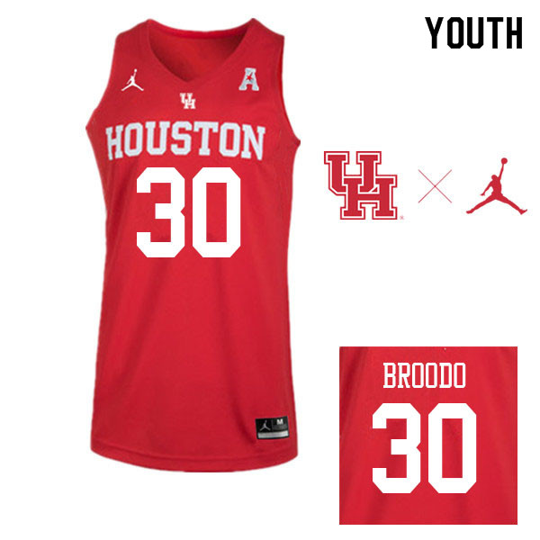 Jordan Brand Youth #30 Caleb Broodo Houston Cougars College Basketball Jerseys Sale-Red