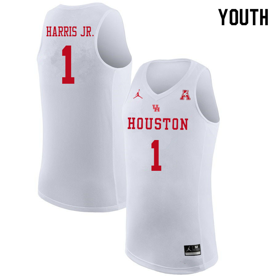 Jordan Brand Youth #1 Chris Harris Jr. Houston Cougars College Basketball Jerseys Sale-White