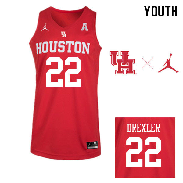 Jordan Brand Youth #22 Clyde Drexler Houston Cougars College Basketball Jerseys Sale-Red
