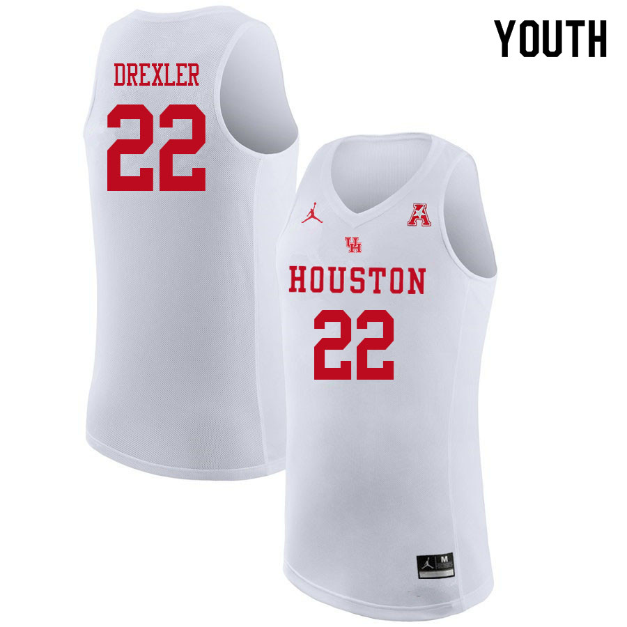 Jordan Brand Youth #22 Clyde Drexler Houston Cougars College Basketball Jerseys Sale-White