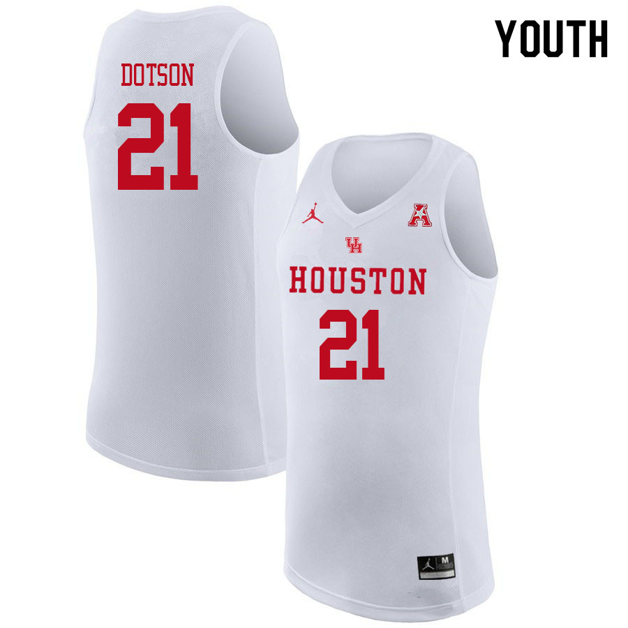 Jordan Brand Youth #21 Damyean Dotson Houston Cougars College Basketball Jerseys Sale-White