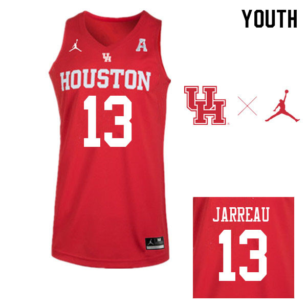 Jordan Brand Youth #13 DeJon Jarreau Houston Cougars College Basketball Jerseys Sale-Red