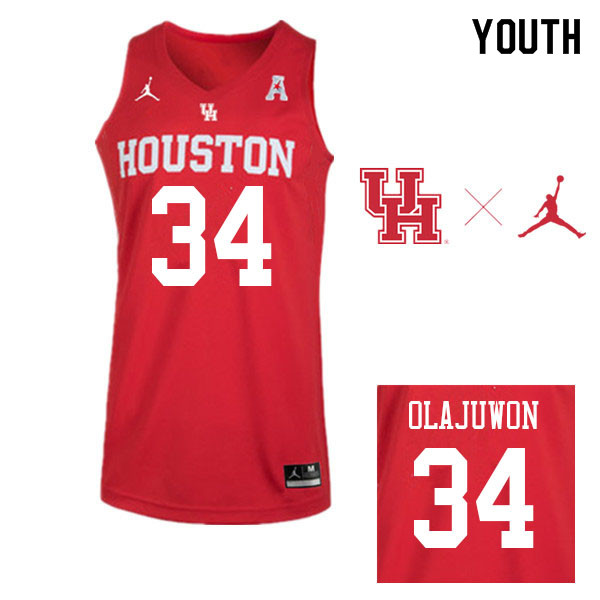 Jordan Brand Youth #34 Hakeem Olajuwon Houston Cougars College Basketball Jerseys Sale-Red