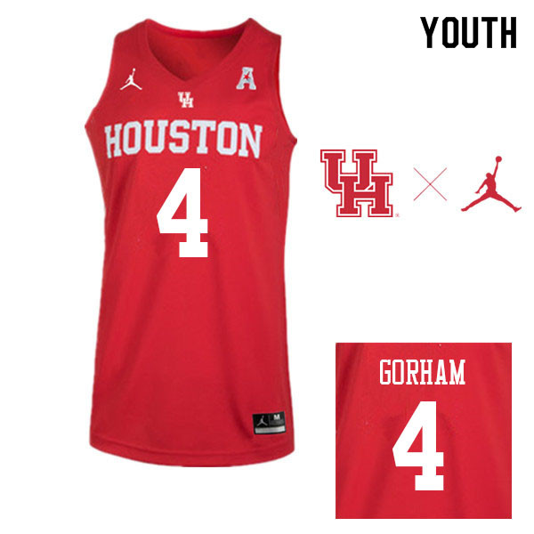 Jordan Brand Youth #4 Justin Gorham Houston Cougars College Basketball Jerseys Sale-Red