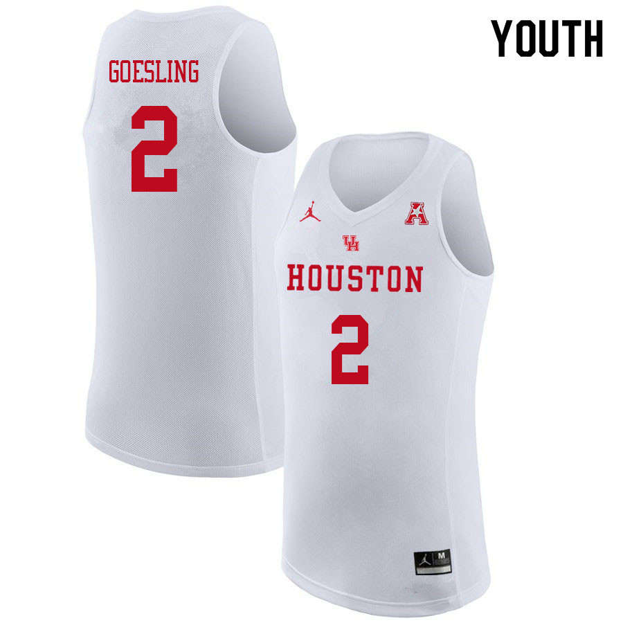 Jordan Brand Youth #2 Landon Goesling Houston Cougars College Basketball Jerseys Sale-White