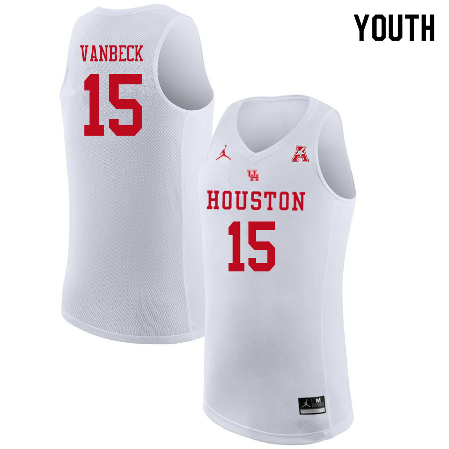 Jordan Brand Youth #15 Neil VanBeck Houston Cougars College Basketball Jerseys Sale-White